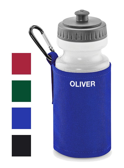 Water bottle with clip and coloured sleeve