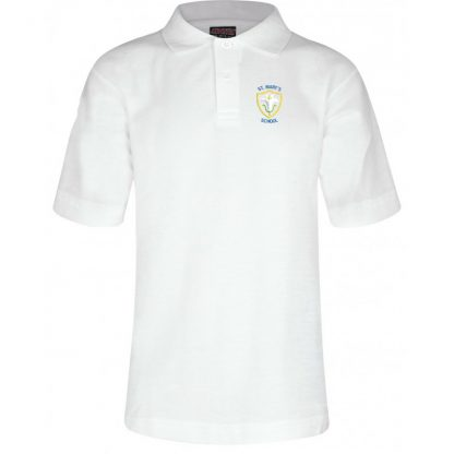White uniform polo for St Mary's School Baldock