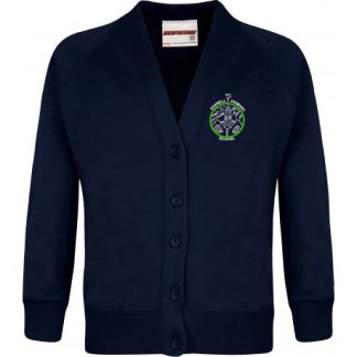 Ashwell Navy Cardigan with School Logo