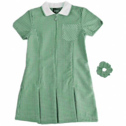 School uniform checked summer dress in green