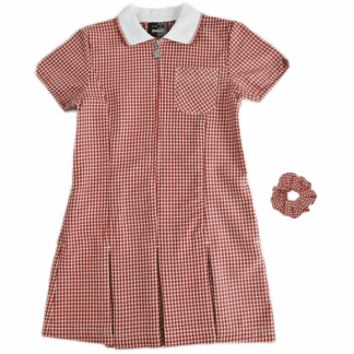Red checked summer school dress