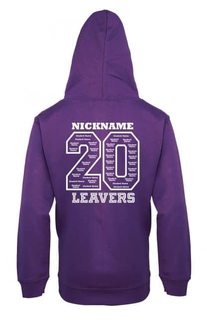 Leavers Hoodie Back - Purple